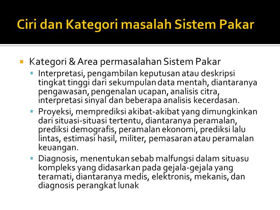 Ciri dan Kategori masalah Sistem Pakar