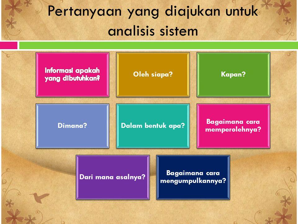 Pertanyaan yang diajukan untuk analisis sistem