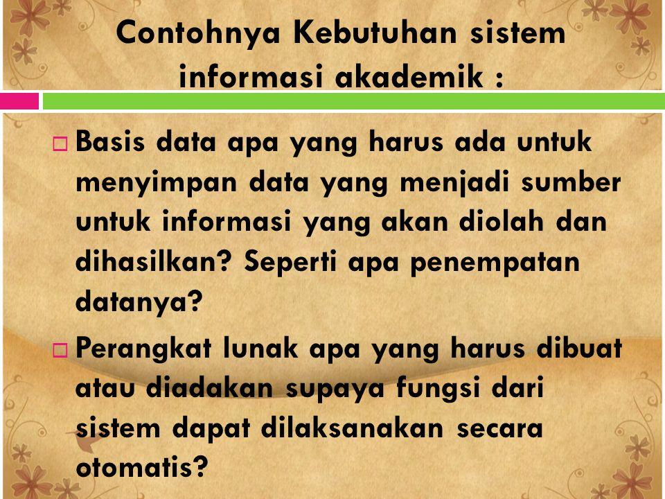 Contohnya Kebutuhan sistem informasi akademik :