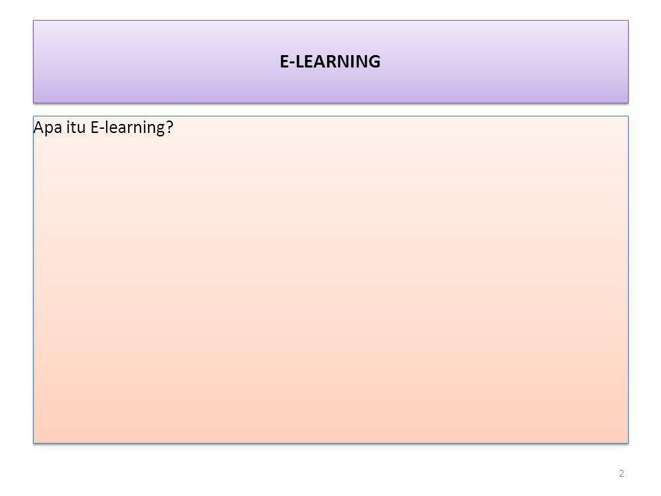 E-LEARNING Apa itu E-learning