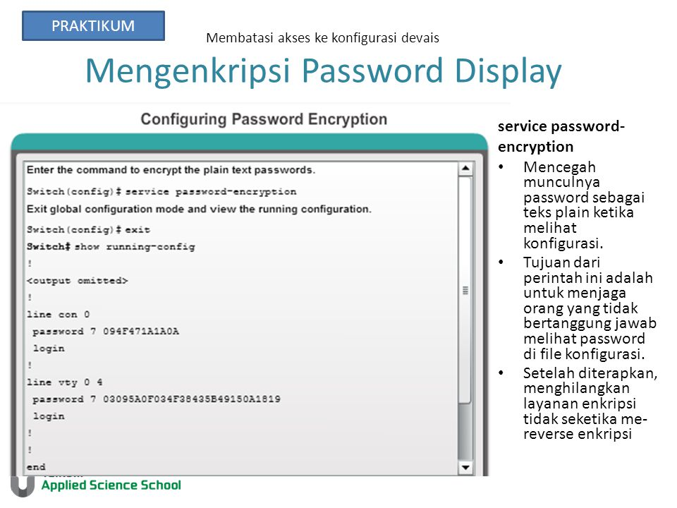 Membatasi akses ke konfigurasi devais Mengenkripsi Password Display