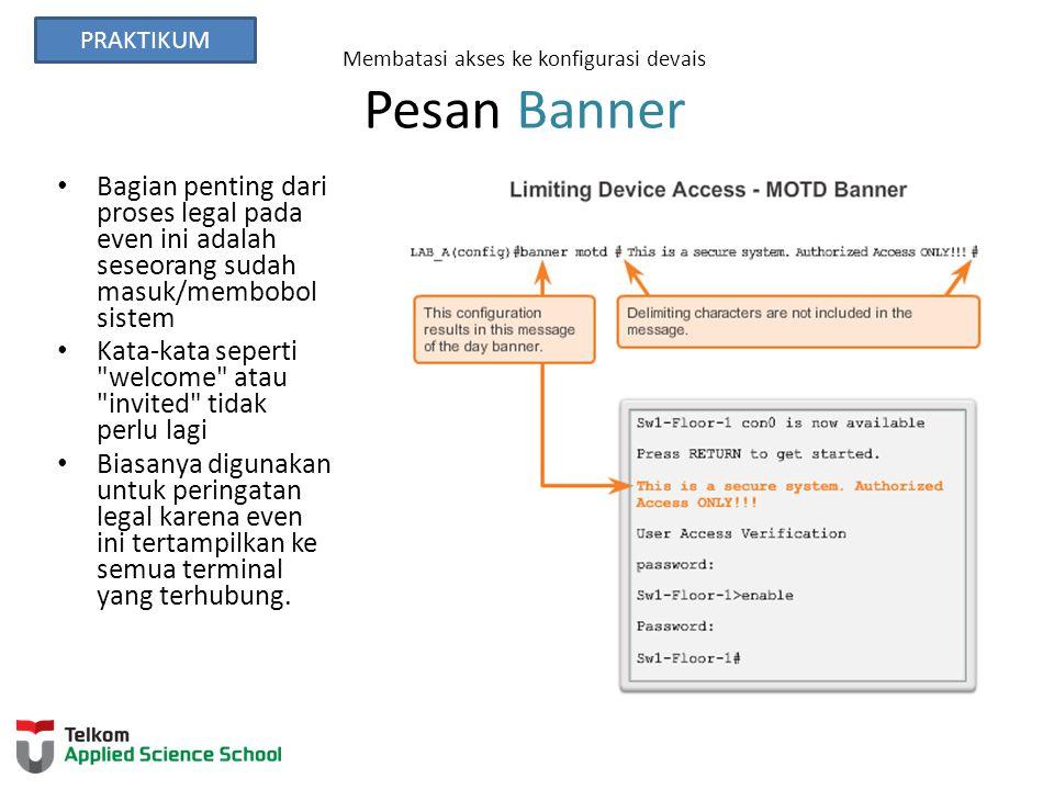 Membatasi akses ke konfigurasi devais Pesan Banner