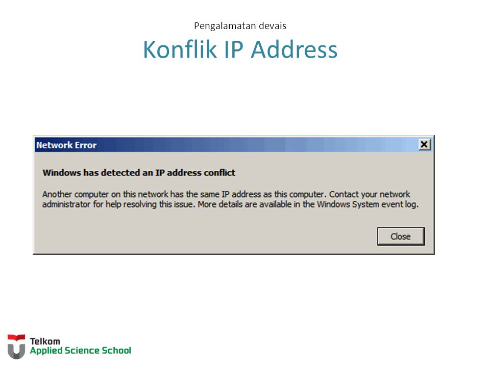 Pengalamatan devais Konflik IP Address