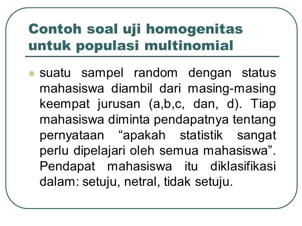 Contoh soal uji homogenitas untuk populasi multinomial