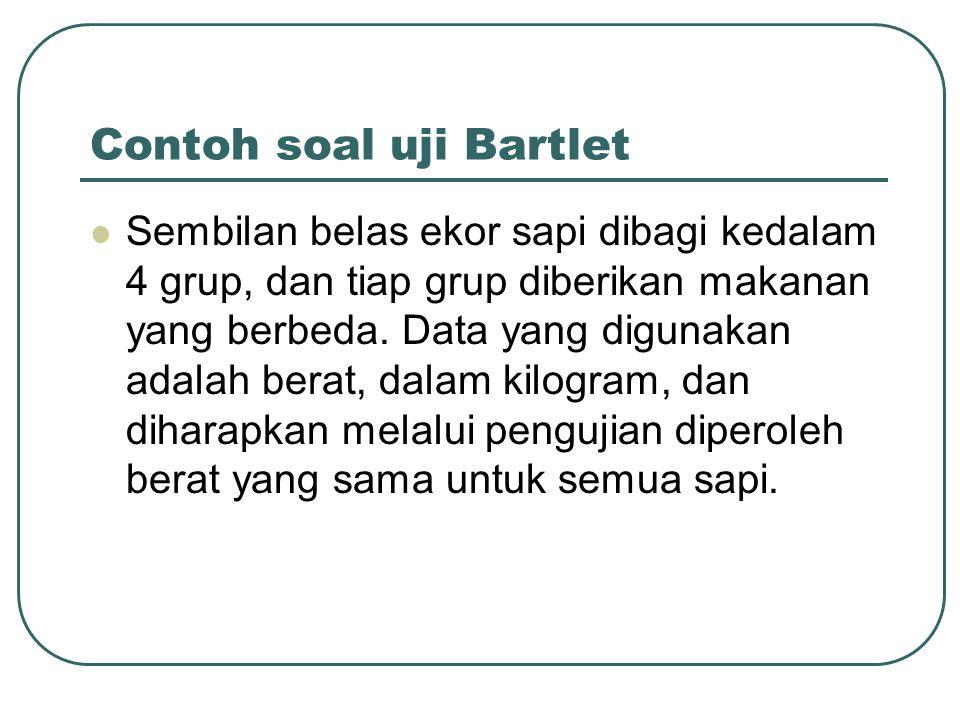 Contoh soal uji Bartlet