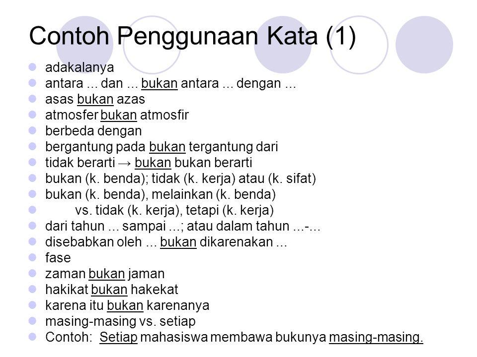 Contoh Penggunaan Kata (1)