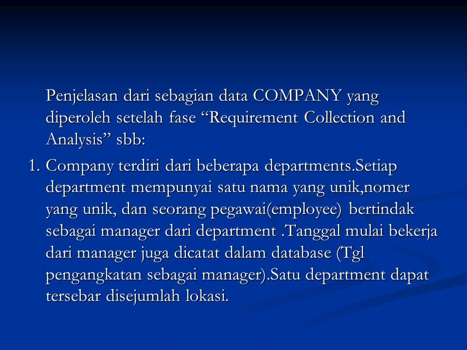 Penjelasan dari sebagian data COMPANY yang diperoleh setelah fase Requirement Collection and Analysis sbb:
