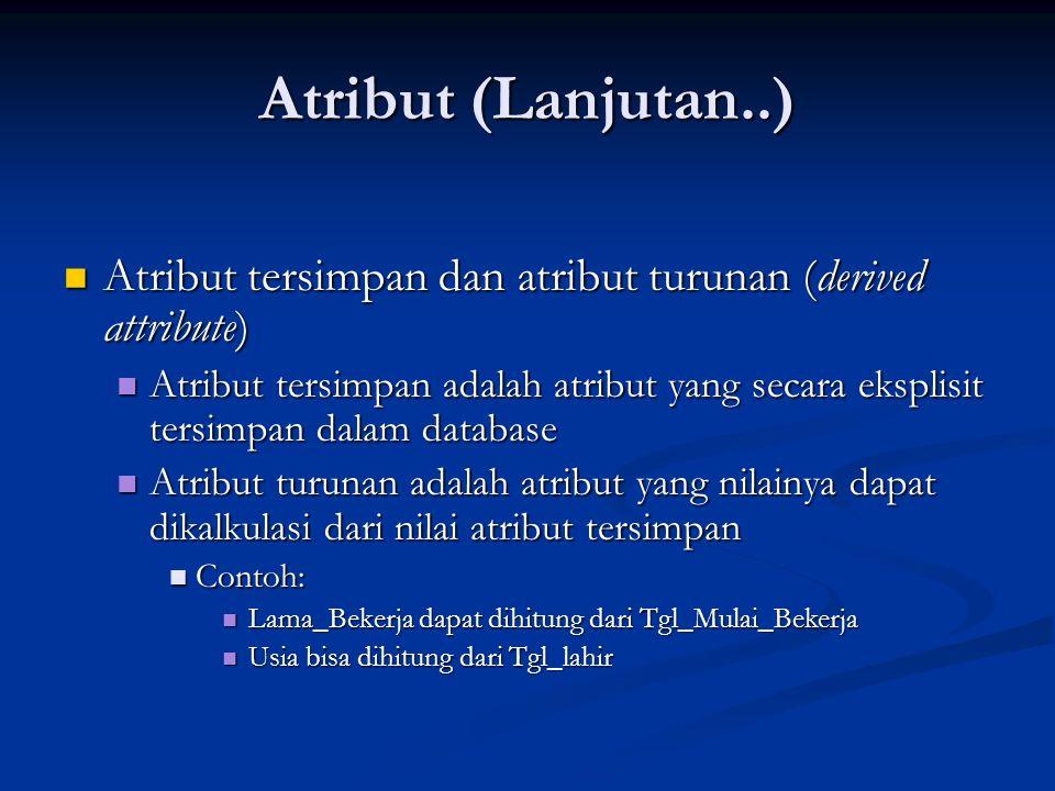 Atribut (Lanjutan..) Atribut tersimpan dan atribut turunan (derived attribute)
