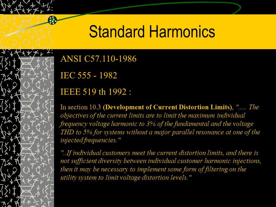 Standard Harmonics ANSI C57.110-1986 IEC 555 - 1982 IEEE 519 th 1992 :