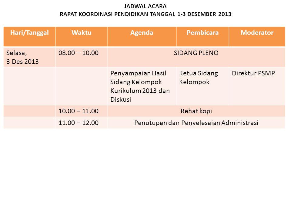 JADWAL ACARA RAPAT KOORDINASI PENDIDIKAN TANGGAL 1-3 DESEMBER 2013