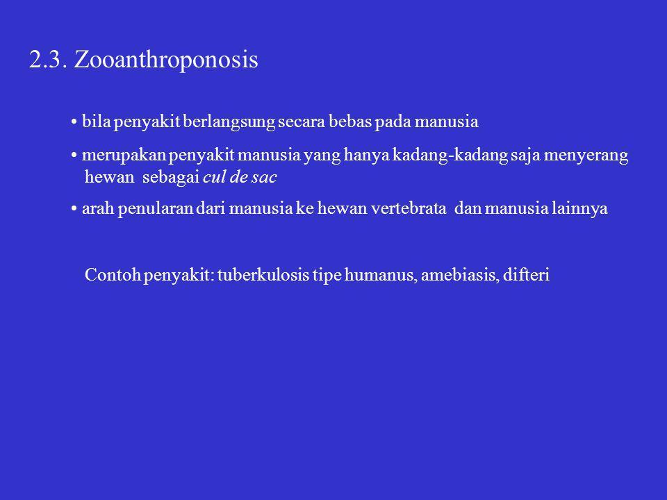 2.3. Zooanthroponosis • bila penyakit berlangsung secara bebas pada manusia. • merupakan penyakit manusia yang hanya kadang-kadang saja menyerang.
