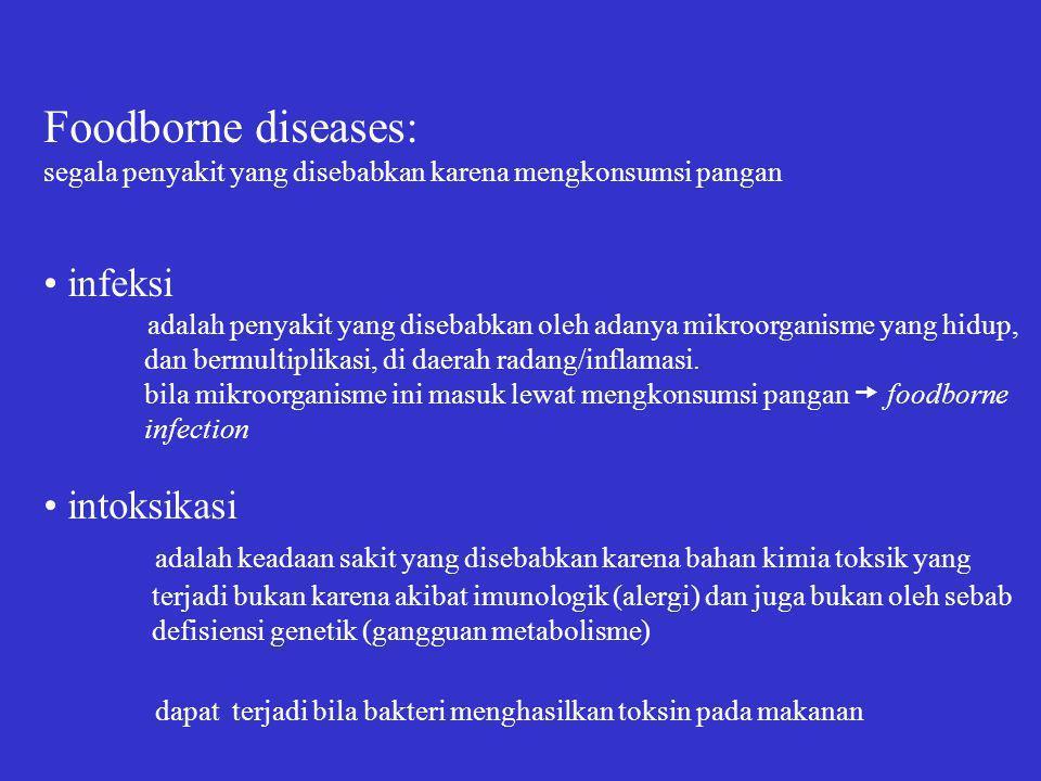 Foodborne diseases: • infeksi • intoksikasi
