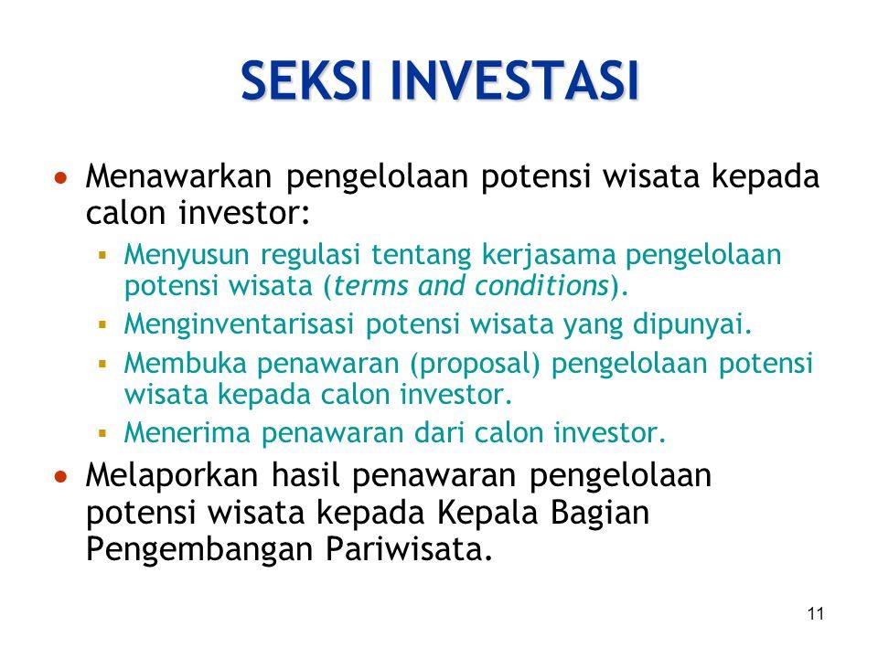 SEKSI INVESTASI Menawarkan pengelolaan potensi wisata kepada calon investor: