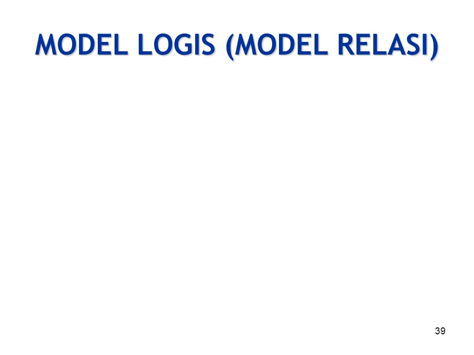 MODEL LOGIS (MODEL RELASI)