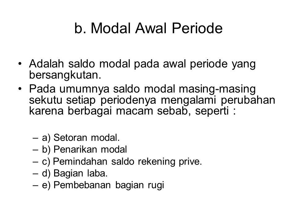 b. Modal Awal Periode Adalah saldo modal pada awal periode yang bersangkutan.
