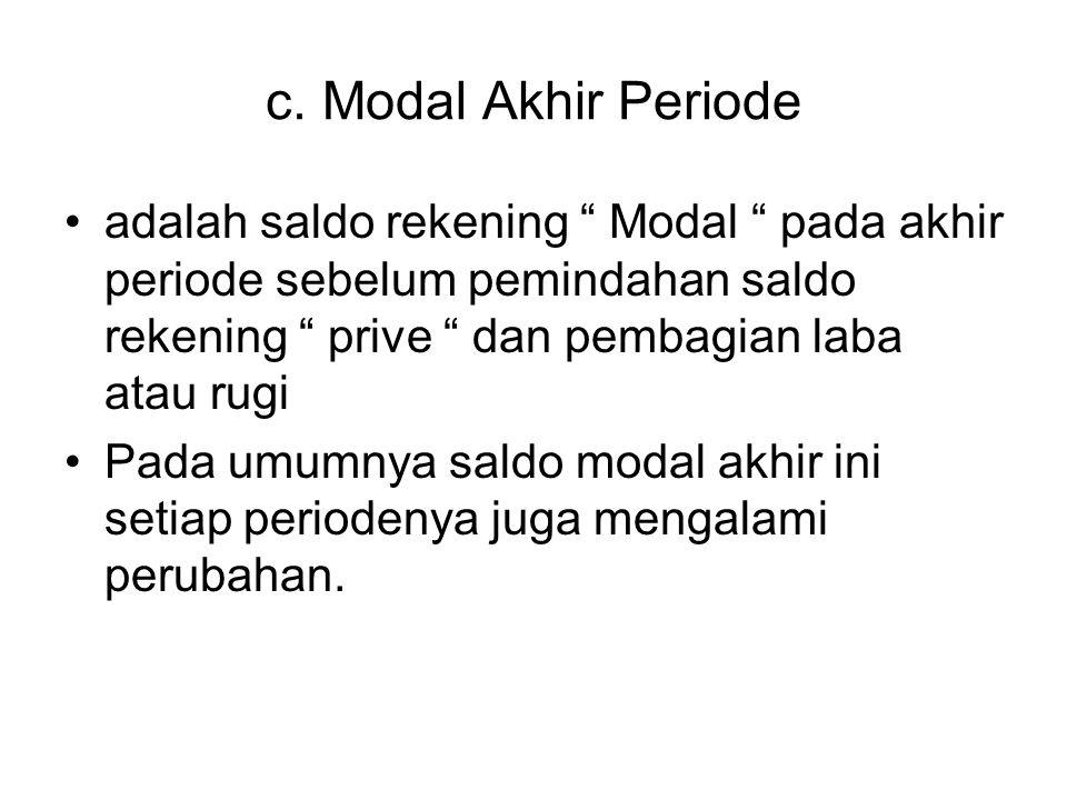 c. Modal Akhir Periode adalah saldo rekening Modal pada akhir periode sebelum pemindahan saldo rekening prive dan pembagian laba atau rugi.