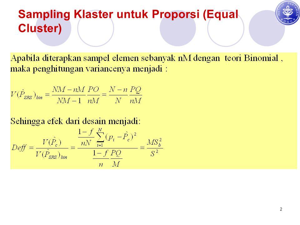 Sampling Klaster untuk Proporsi (Equal Cluster)