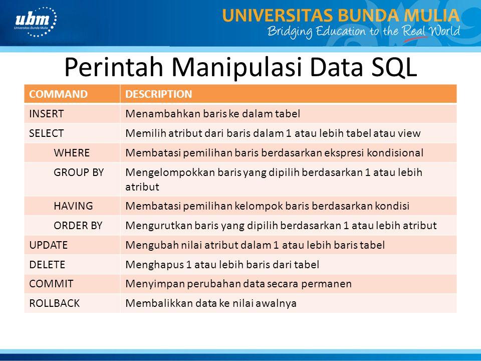Perintah Manipulasi Data SQL