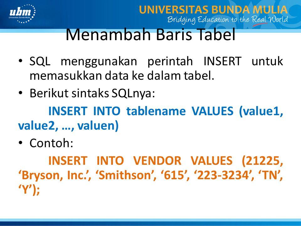 Menambah Baris Tabel SQL menggunakan perintah INSERT untuk memasukkan data ke dalam tabel. Berikut sintaks SQLnya: