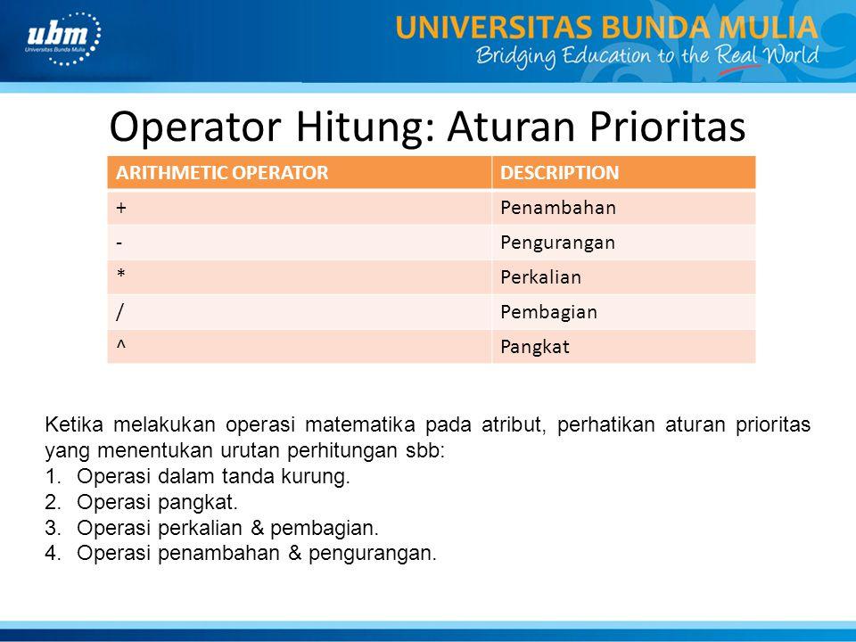 Operator Hitung: Aturan Prioritas
