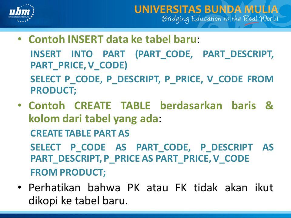 Contoh INSERT data ke tabel baru: