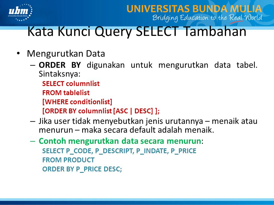 Kata Kunci Query SELECT Tambahan