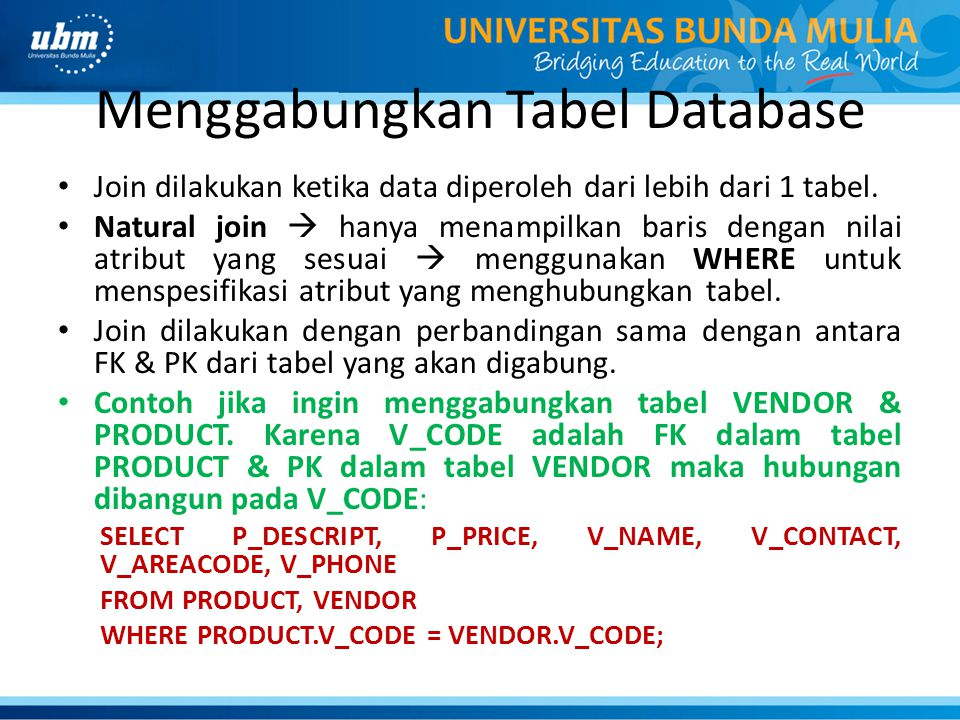Menggabungkan Tabel Database