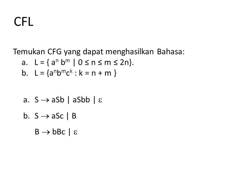 CFL Temukan CFG yang dapat menghasilkan Bahasa: