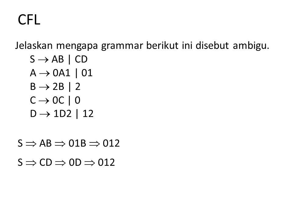 CFL Jelaskan mengapa grammar berikut ini disebut ambigu. S  AB | CD