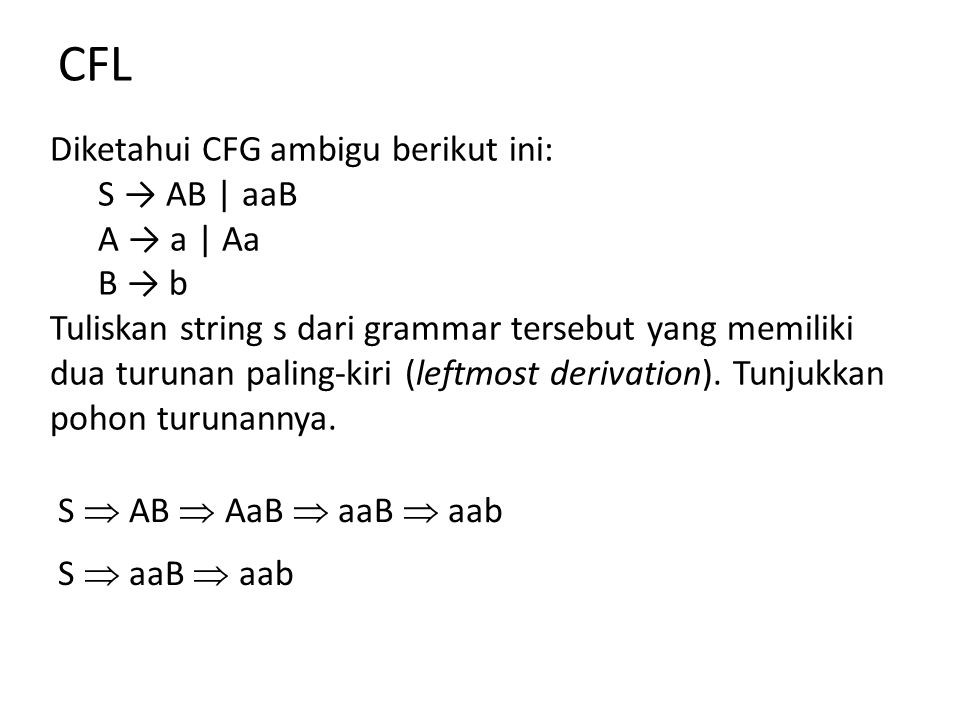 CFL Diketahui CFG ambigu berikut ini: S → AB | aaB A → a | Aa B → b