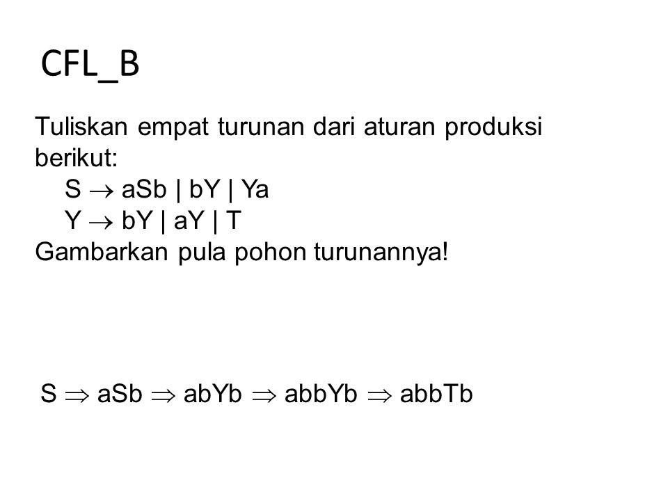 CFL_B Tuliskan empat turunan dari aturan produksi berikut: