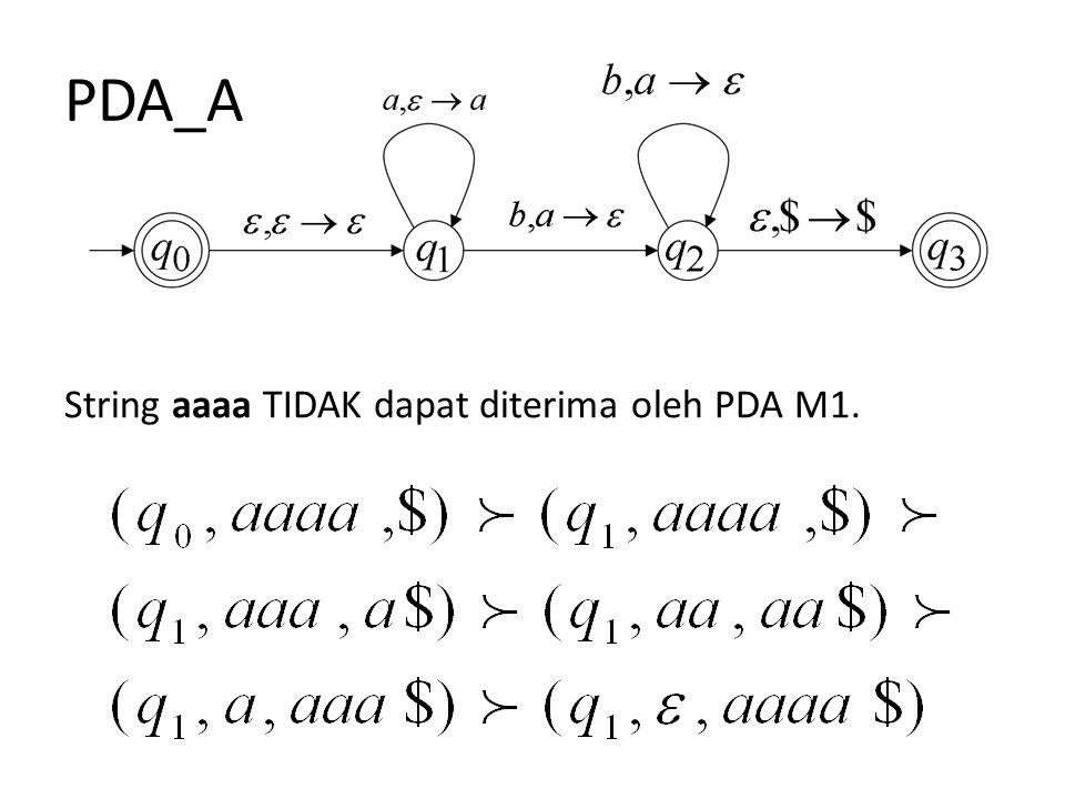 PDA_A String aaaa TIDAK dapat diterima oleh PDA M1.