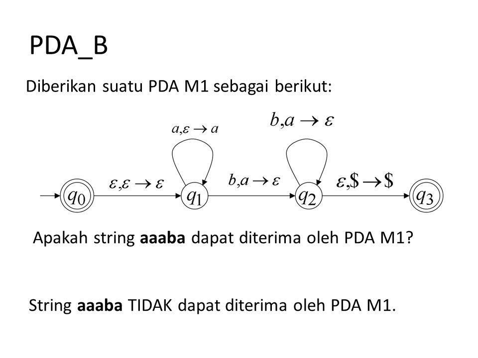 PDA_B Diberikan suatu PDA M1 sebagai berikut:
