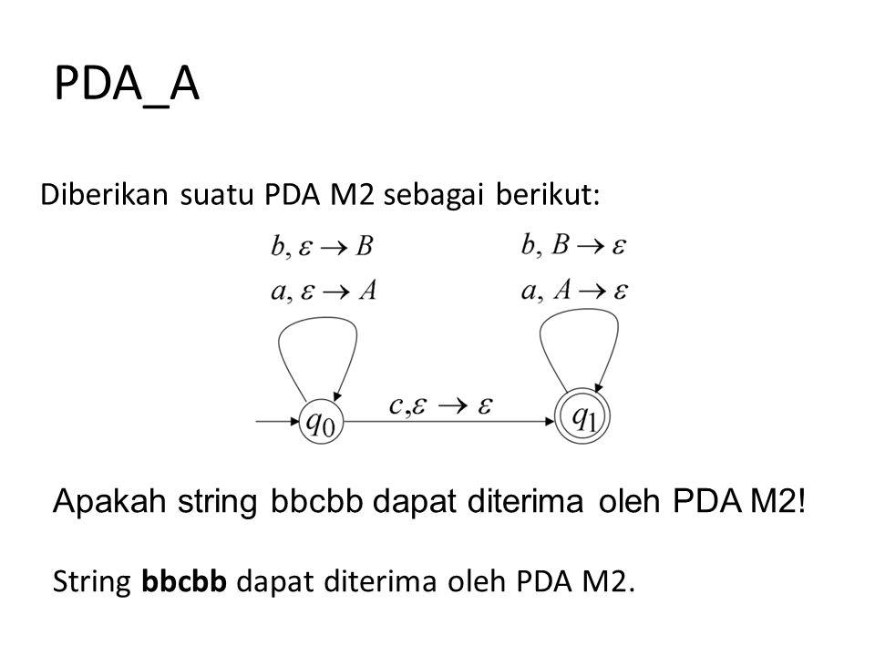 PDA_A Diberikan suatu PDA M2 sebagai berikut: