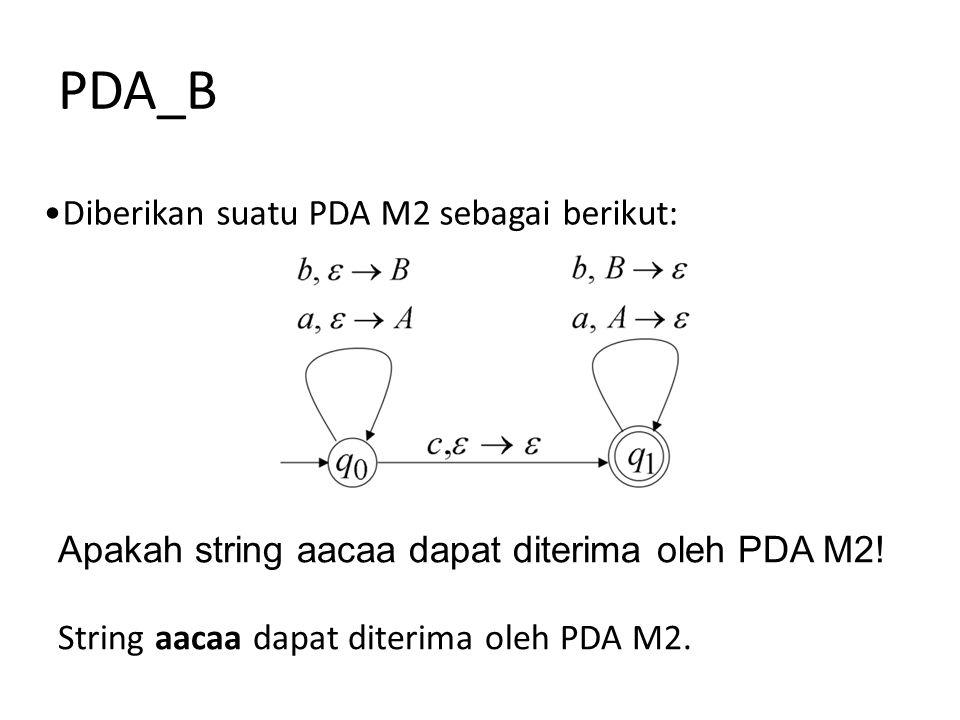 PDA_B Diberikan suatu PDA M2 sebagai berikut: