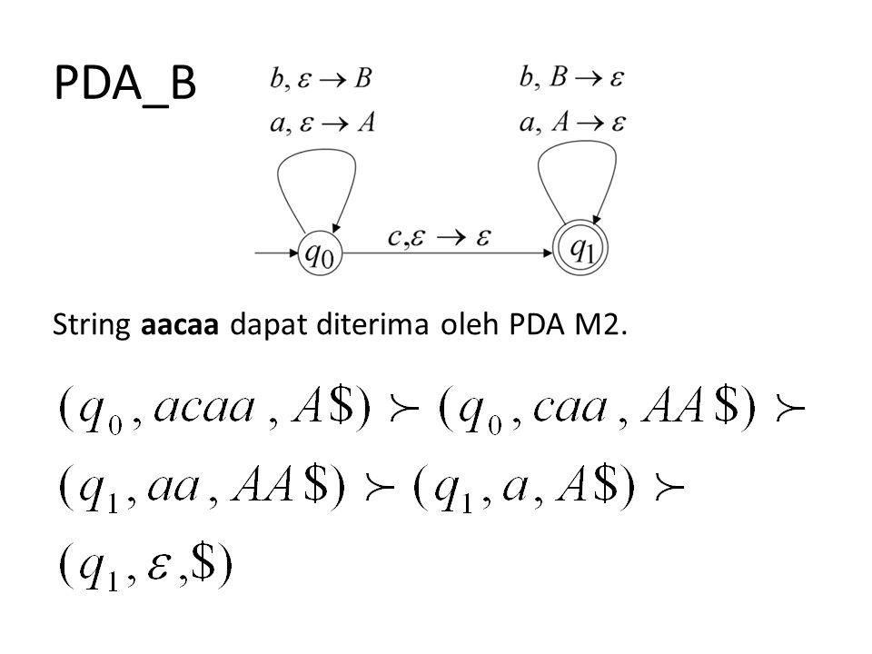 PDA_B String aacaa dapat diterima oleh PDA M2.