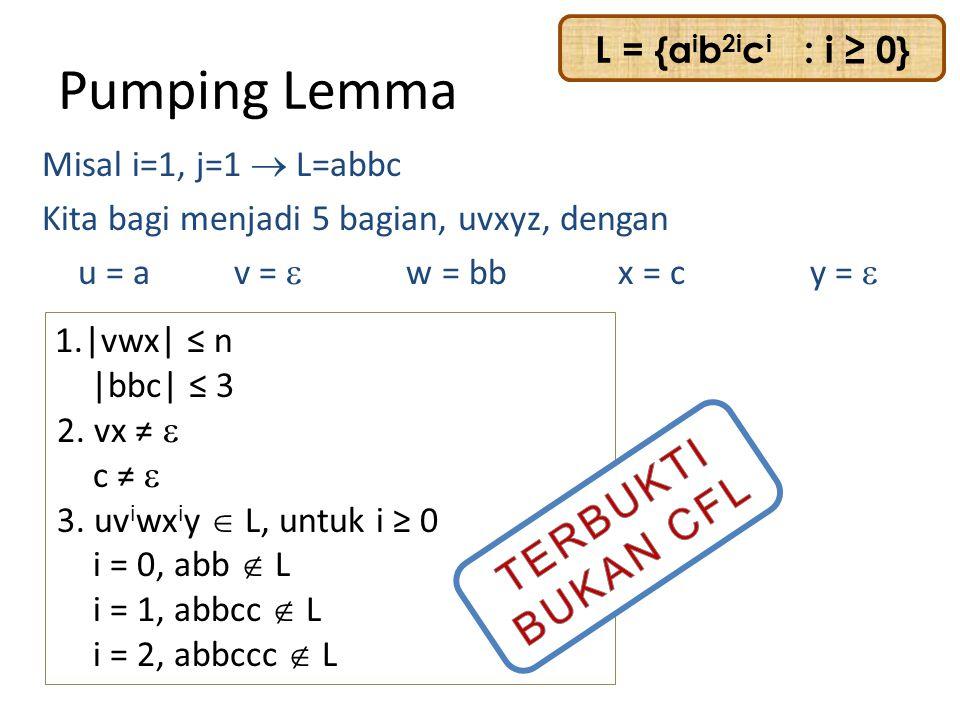Pumping Lemma TERBUKTI BUKAN CFL L = {aib2ici : i ≥ 0}
