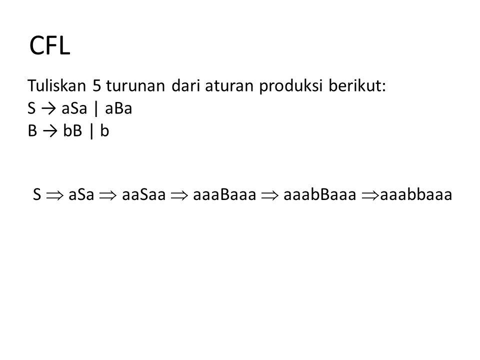 CFL Tuliskan 5 turunan dari aturan produksi berikut: S → aSa | aBa