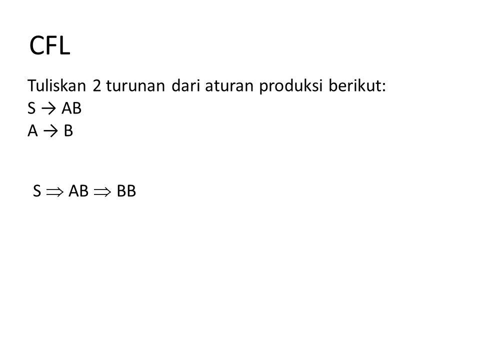CFL Tuliskan 2 turunan dari aturan produksi berikut: S → AB A → B