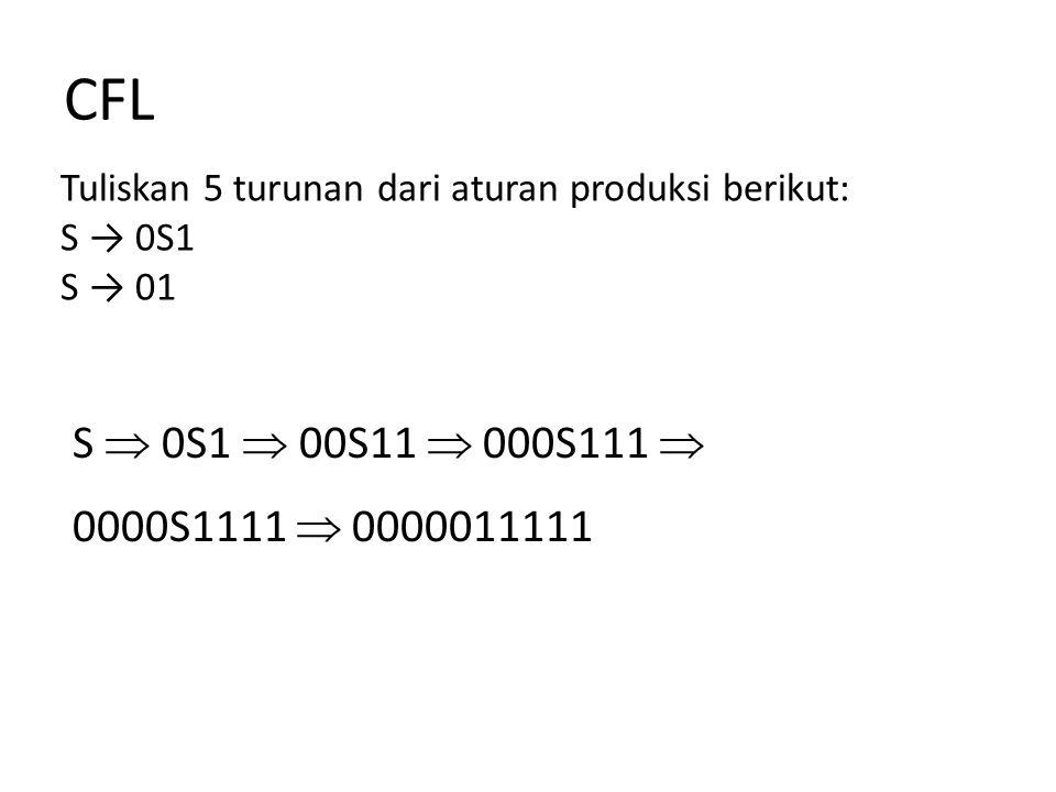 CFL Tuliskan 5 turunan dari aturan produksi berikut: S → 0S1. S → 01. S  0S1  00S11  000S111 