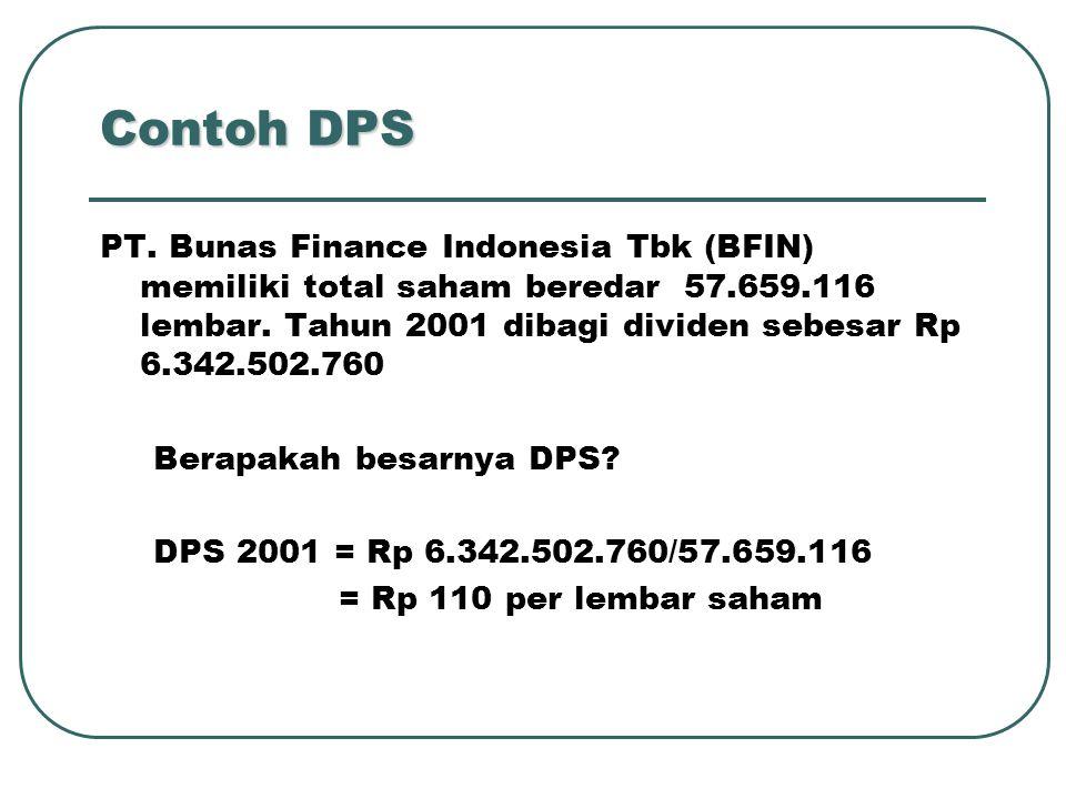 Contoh DPS PT. Bunas Finance Indonesia Tbk (BFIN) memiliki total saham beredar 57.659.116 lembar. Tahun 2001 dibagi dividen sebesar Rp 6.342.502.760.