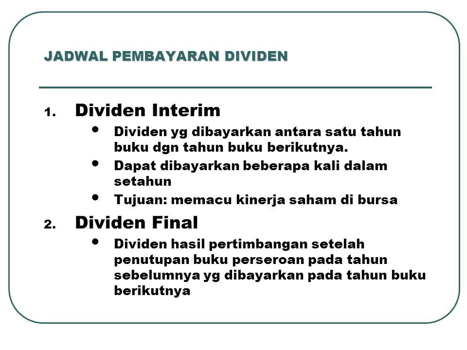 JADWAL PEMBAYARAN DIVIDEN