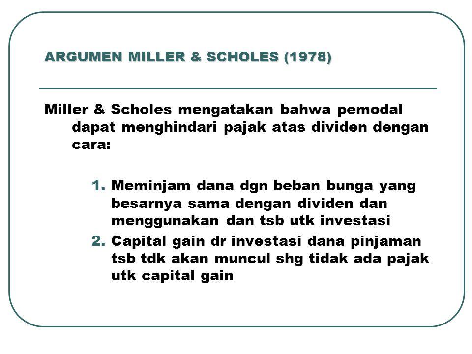 ARGUMEN MILLER & SCHOLES (1978)