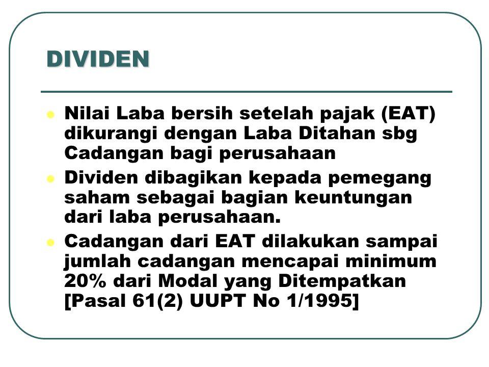 DIVIDEN Nilai Laba bersih setelah pajak (EAT) dikurangi dengan Laba Ditahan sbg Cadangan bagi perusahaan.