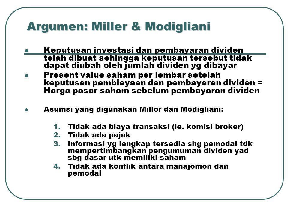 Argumen: Miller & Modigliani