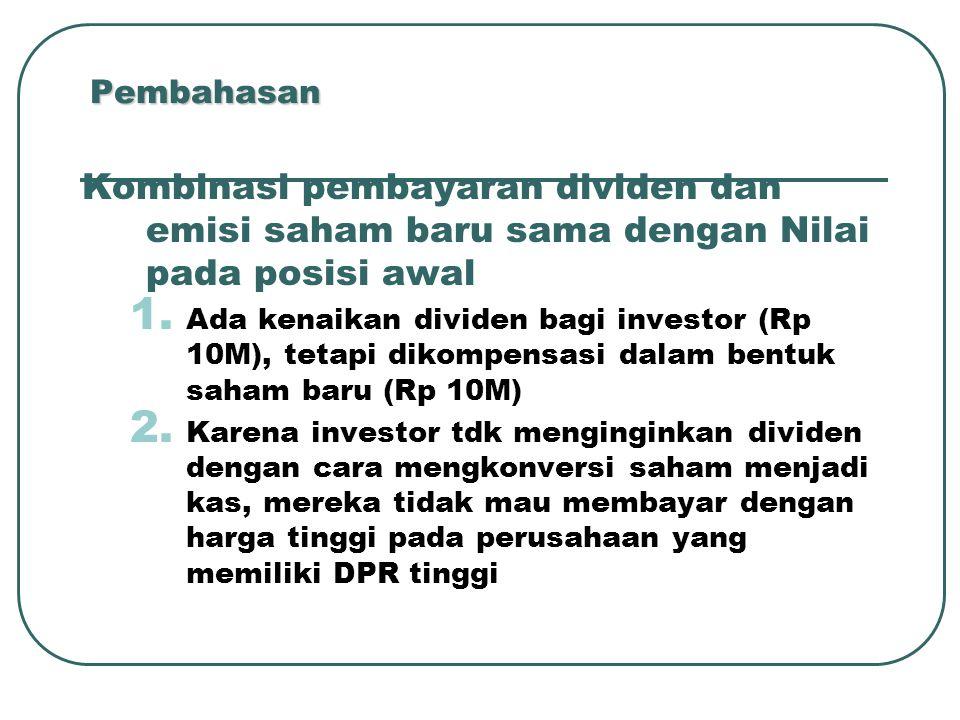 Pembahasan Kombinasi pembayaran dividen dan emisi saham baru sama dengan Nilai pada posisi awal.