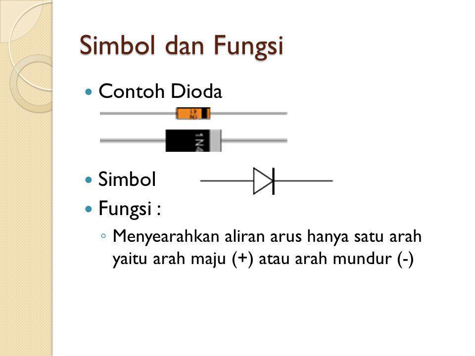 Simbol dan Fungsi Contoh Dioda Simbol Fungsi :