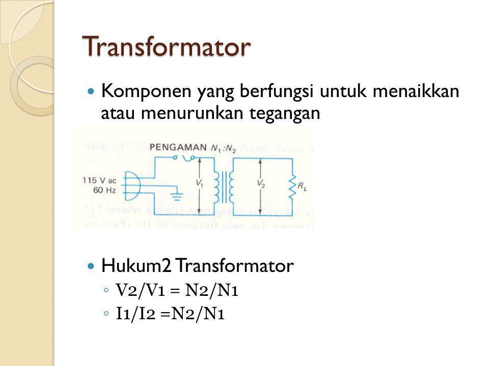 Transformator Komponen yang berfungsi untuk menaikkan atau menurunkan tegangan. Hukum2 Transformator.