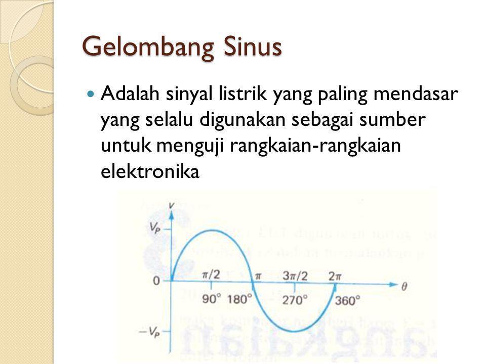 Gelombang Sinus Adalah sinyal listrik yang paling mendasar yang selalu digunakan sebagai sumber untuk menguji rangkaian-rangkaian elektronika.