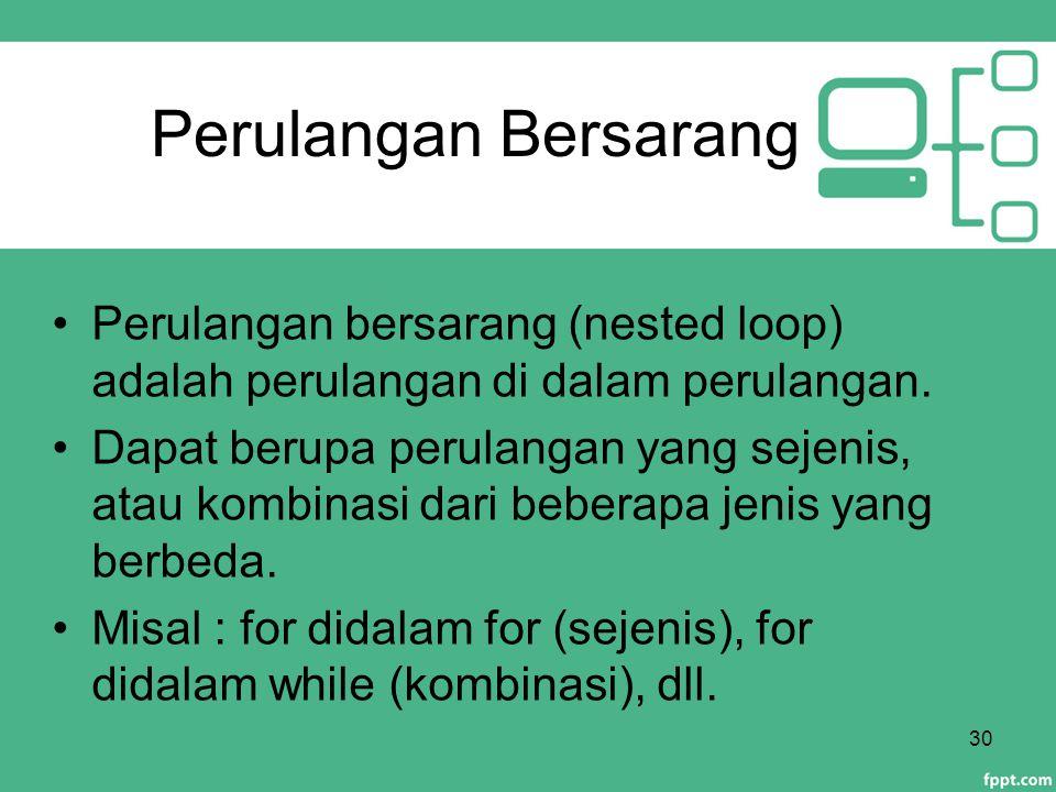 Perulangan Bersarang Perulangan bersarang (nested loop) adalah perulangan di dalam perulangan.